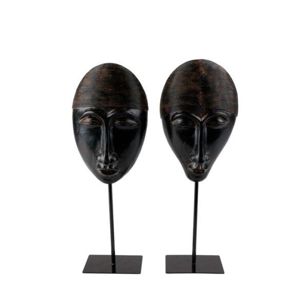 Banjul mask szobor 2-es szett, antik barna/fekete