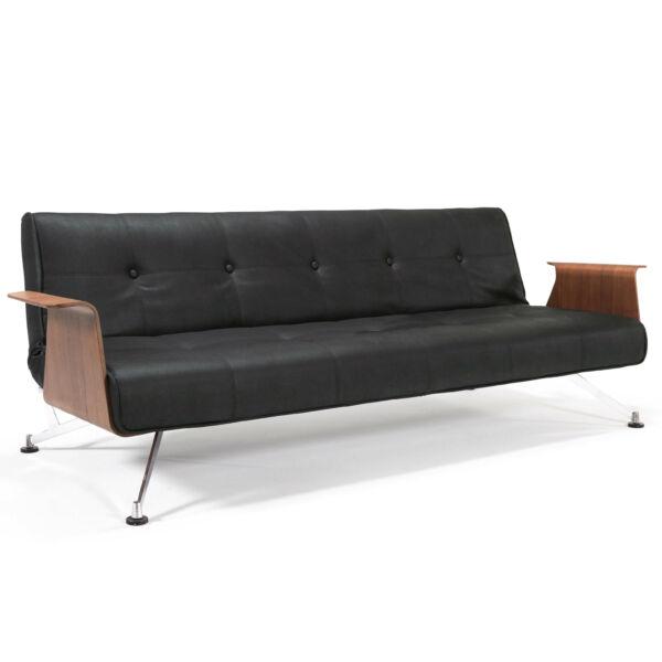Clubber kanapéágy, fekete textilbőr, dió karkás