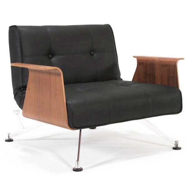Clubber fotel, fekete textilbőr, dió karfás
