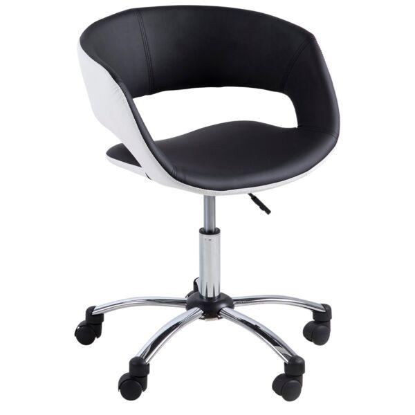Grace irodai szék, fekete/fehér textilbőr