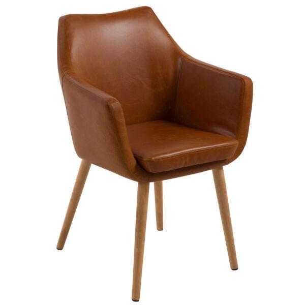 Flora design szék, brandy textilbőr