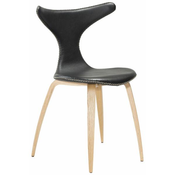 Dolphin design szék, fekete textilbőr, tölgy láb
