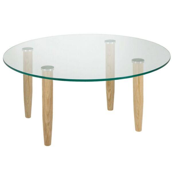 Crystal dohányzóasztal, üveg, D80 cm