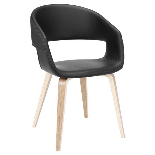 Nova szék, fekete textilbőr, tölgy láb