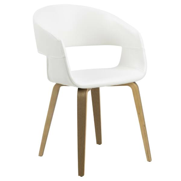 Nova szék, fehér textilbőr, tölgy láb
