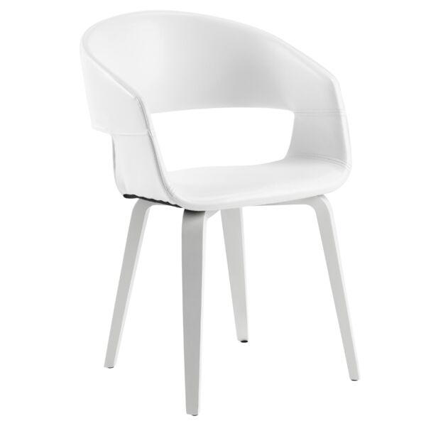 Nova szék, fehér textilbőr, fehér láb