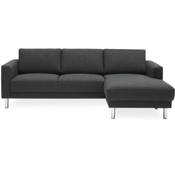 Cleveland kanapé jobbos ottománnal antracit szövet