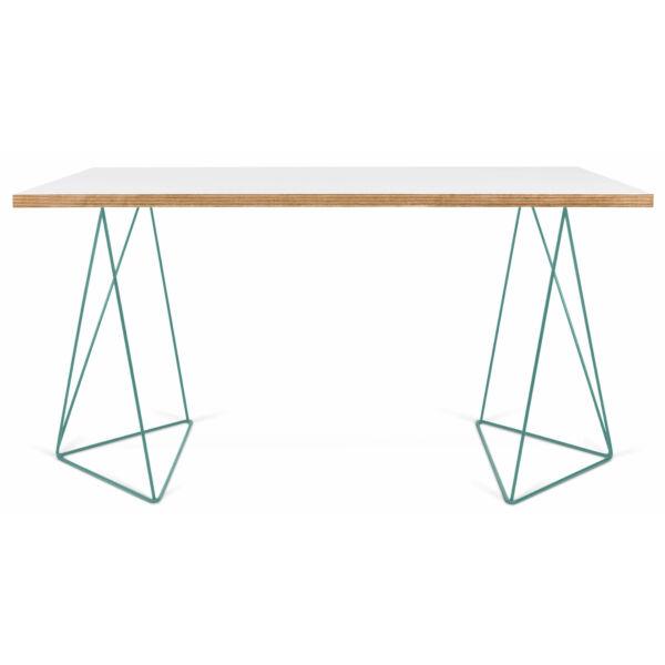 Flow asztal, fehér/menta, 140 cm