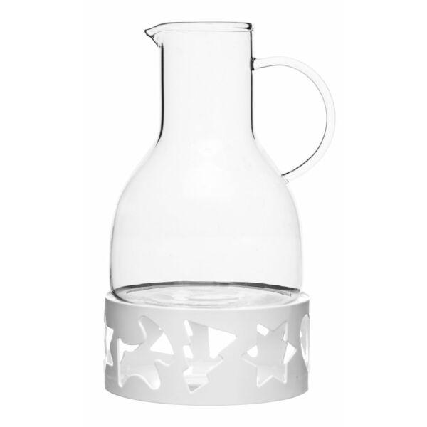 Boros kancsó fehér talppal, fehér üveg