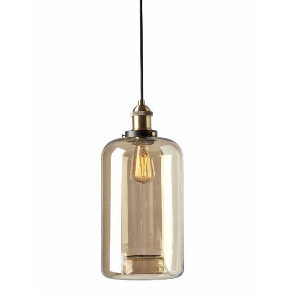 Amber függőlámpa, üveg/Réz, 39 cm