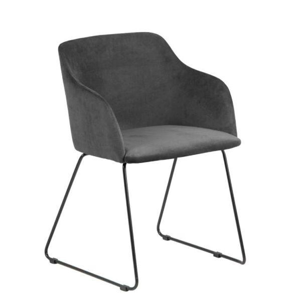 Casablanca karfás design szék, antracit bársony