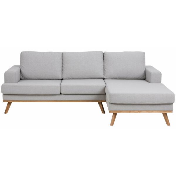 Norwich kanapé jobbos ottománnal, világosszürke szövet