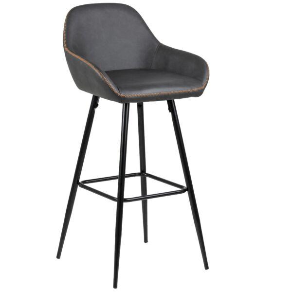 Candis design bárszék, sötétszürke textilbőr