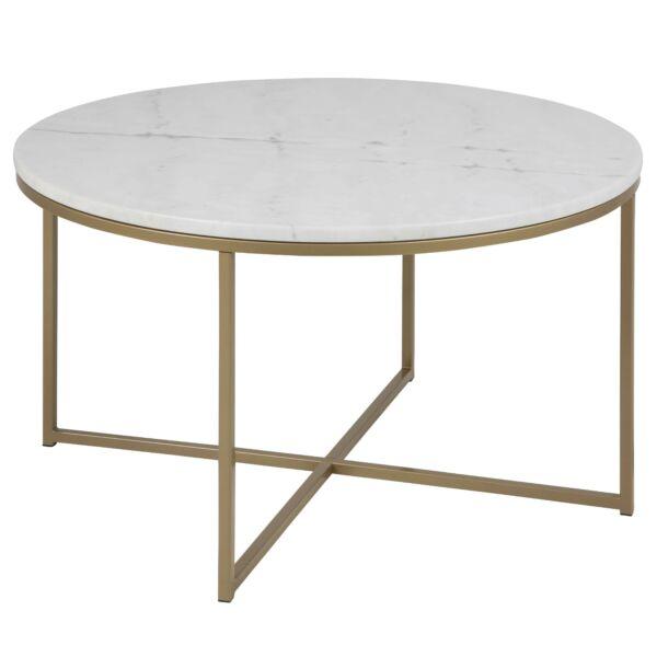 Alisma dohányzóasztal kerek fehér márvány asztallap, sárgaréz láb