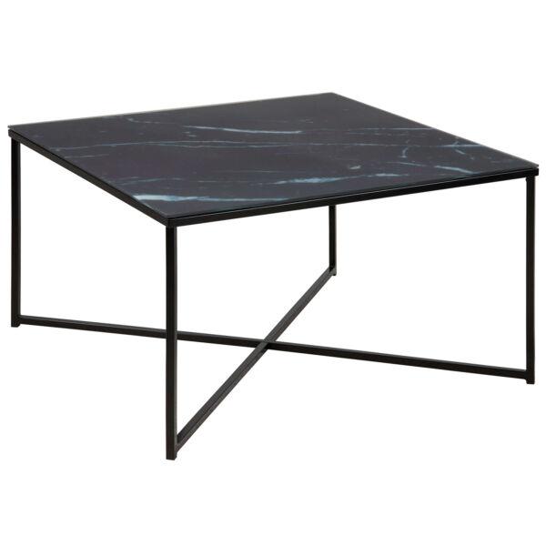 Alisma dohányzóasztal szögletes, fekete márvány mintás printelt üveglap, fekete láb