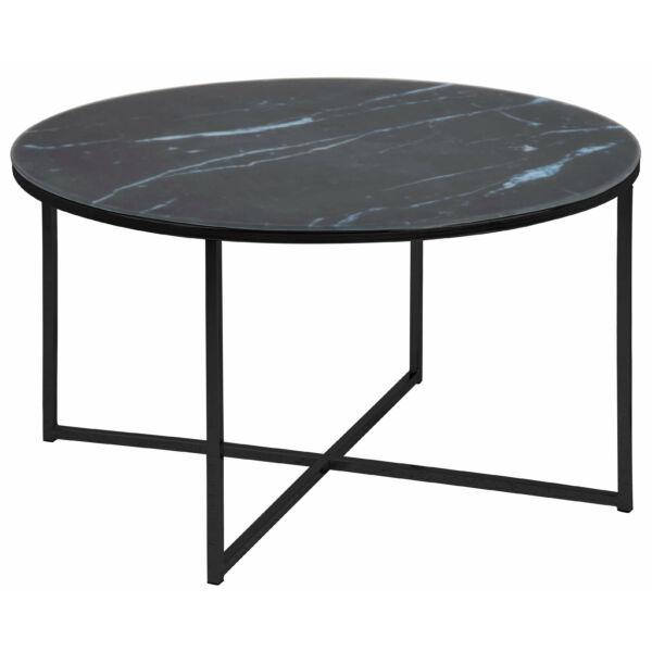 Alisma dohányzóasztal kerek, fekete márvány mintás printelt üveglap, fekete láb
