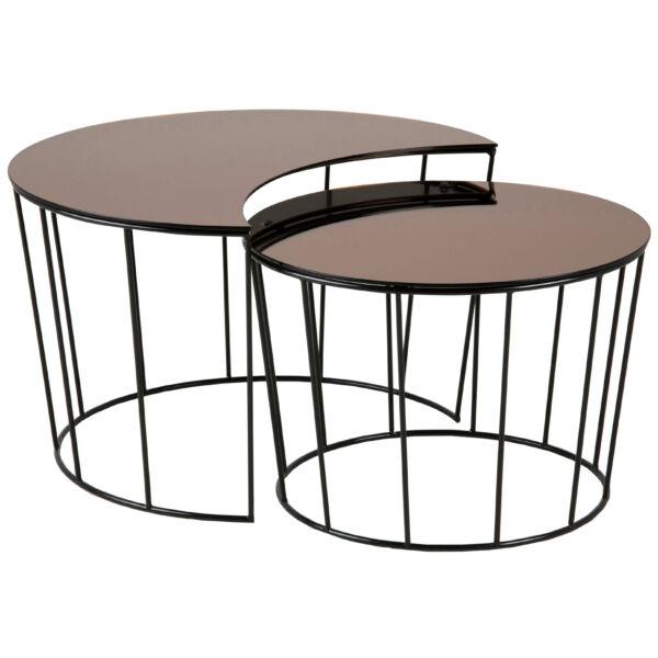 Sunmoon dohányzóasztal szett, bronz üveg