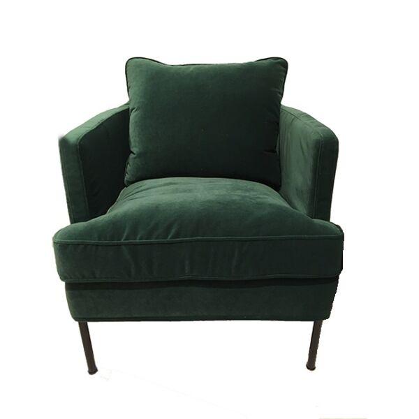 Julia fotel, zöld bársony, festett fém láb