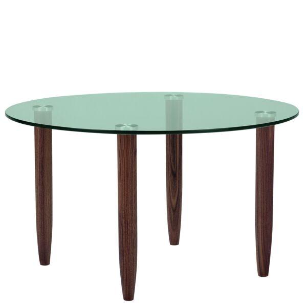 Crystal dohányzóasztal, üveg, dió láb, D80 cm