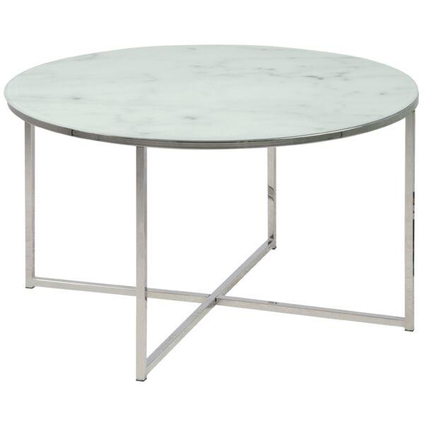 Alisma dohányzóasztal kerek, fehér márvány mintás printelt üveglap, króm láb