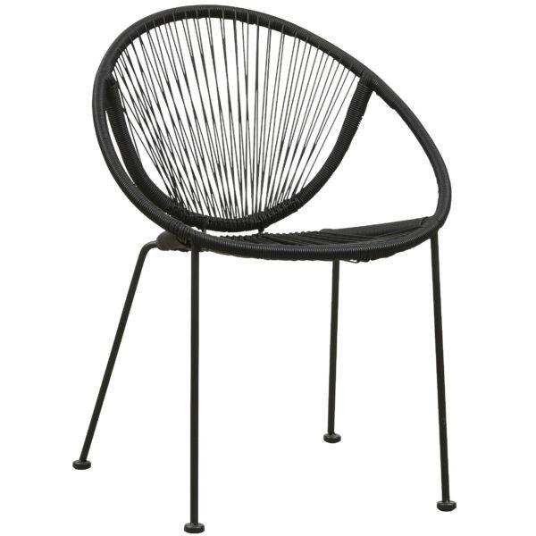Sanremo kerti szék, fekete műanyag