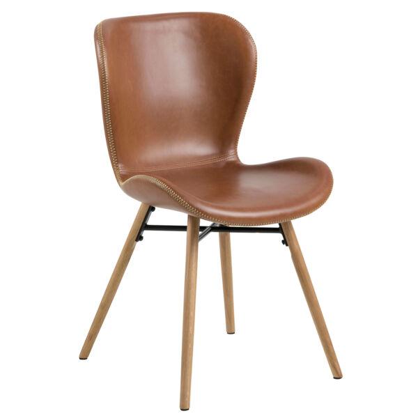 Batilda design szék, brandy textilbőr