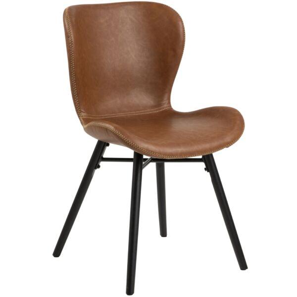 Batilda design szék, brandy textilbőr, fekete láb