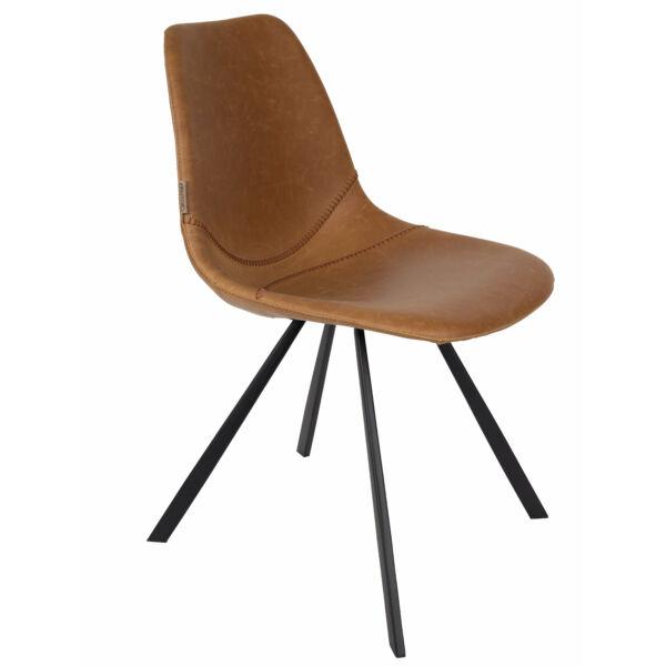 Franky design szék, barna textilbőr