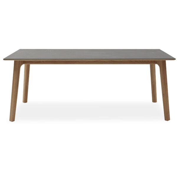 Ceramica bővíthető étkezőasztal, szürke kerámia asztalap, tölgy láb