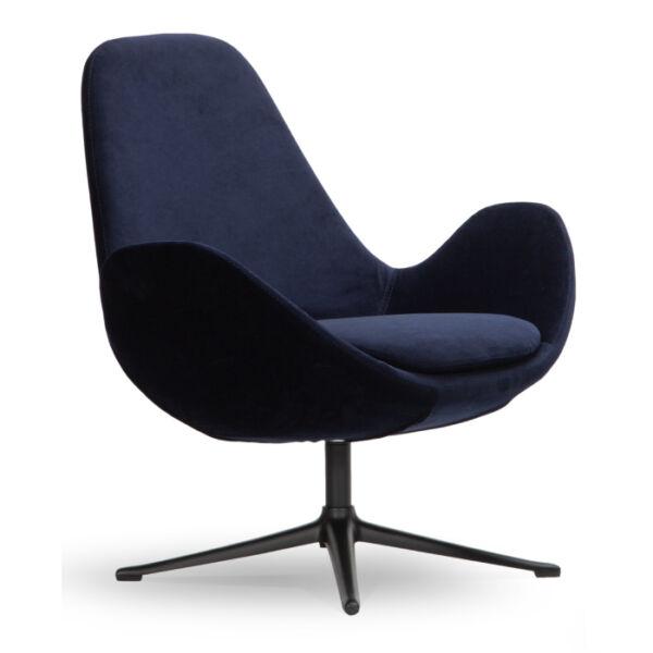 Curve alacsony fotel, sötétkék bársony