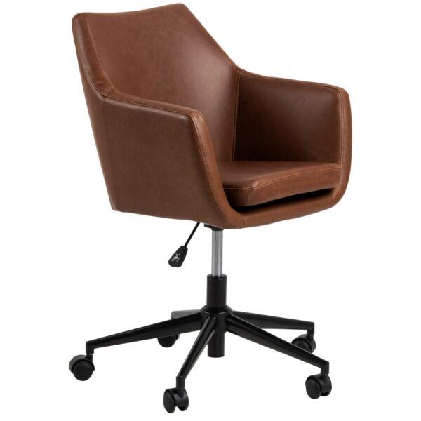 Flora irodai design szék, barna textilbőr