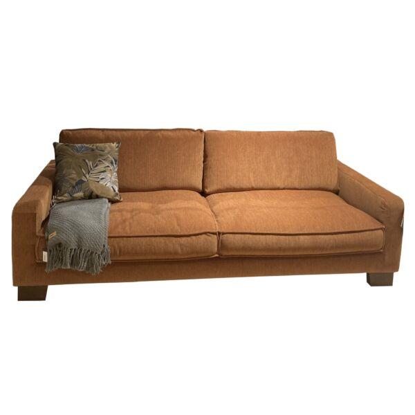Malte 3 személyes kanapé, narancssárga kordbársony