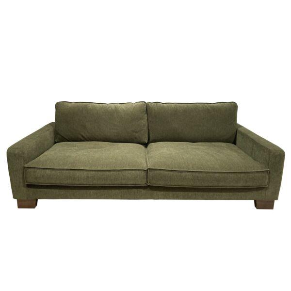 Malte 3 személyes kanapé, sötétzöld kordbársony