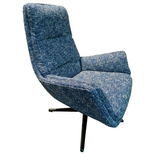 MONA fotel, kék szövet, fekete fém forgó láb