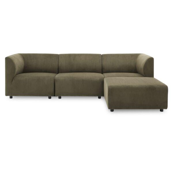 Divani 3 személyes kanapé puffal