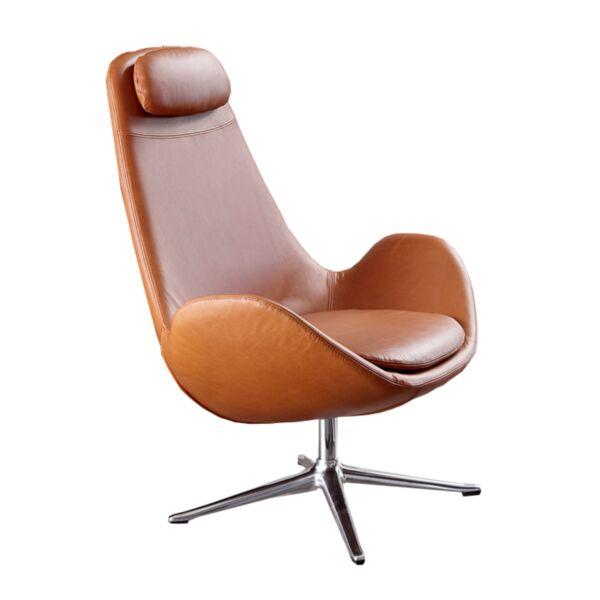 Curve magas fotel, gesztenyebarna bőr, polírozott alumínium láb
