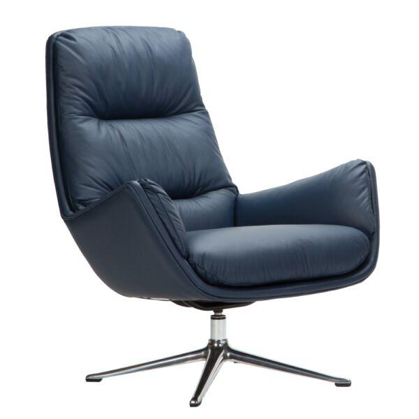 Mona fotel, sötétkék bőr, polírozott alumínium láb