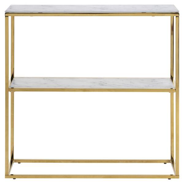 Alisma konzolasztal, fehér márványprint, arany színű váz