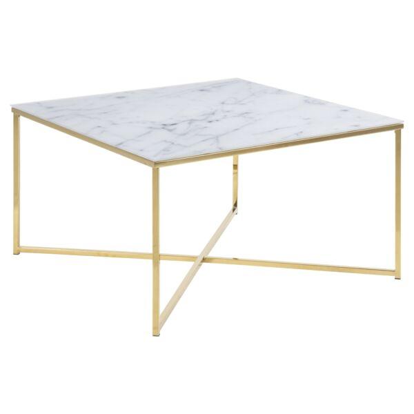 Alisma dohányzóasztal, fehér márvány print, arany színű váz