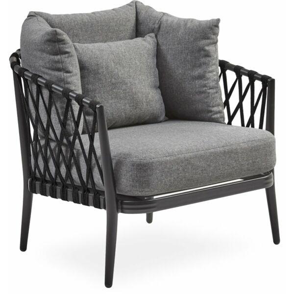 Andria kerti fotel, szürke párna, fekete szálas, fekete aluminium váz
