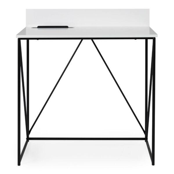 Tell íróasztal, fehér asztallap, fekete festett fém láb