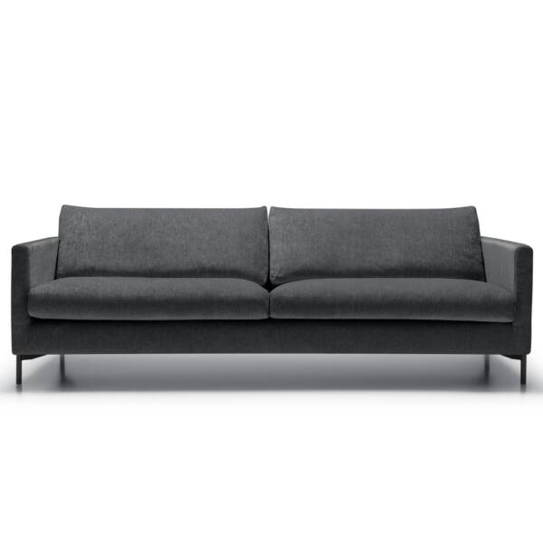 Impulse 4 személyes kanapé, szürke szövet fekete fém láb