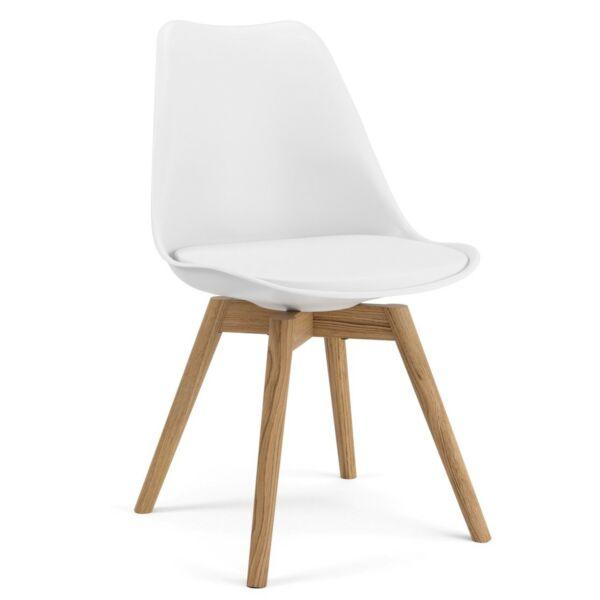 Gina szék, fehér ülőlap, tölgy láb