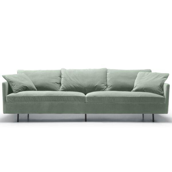 Julia 4 üléses kanapé, türkiz bársony, fekete fém láb