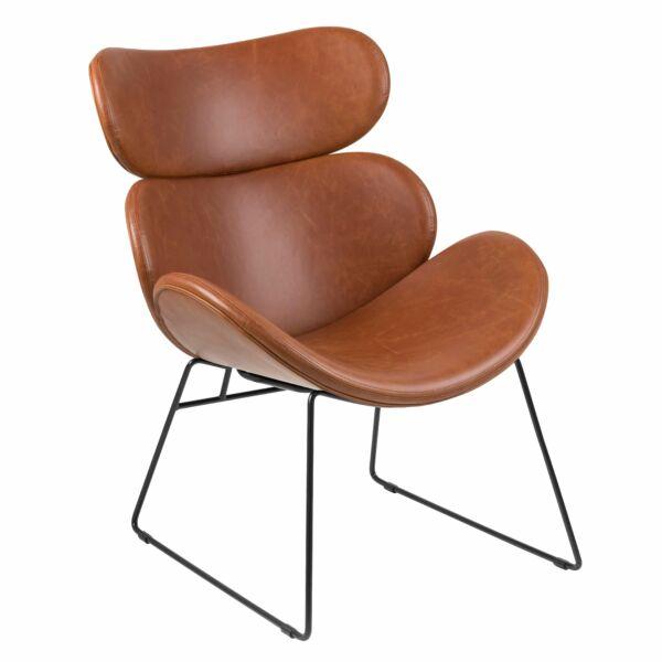 Cazar fotel, vintage brandy textilbőr, fekete fém láb