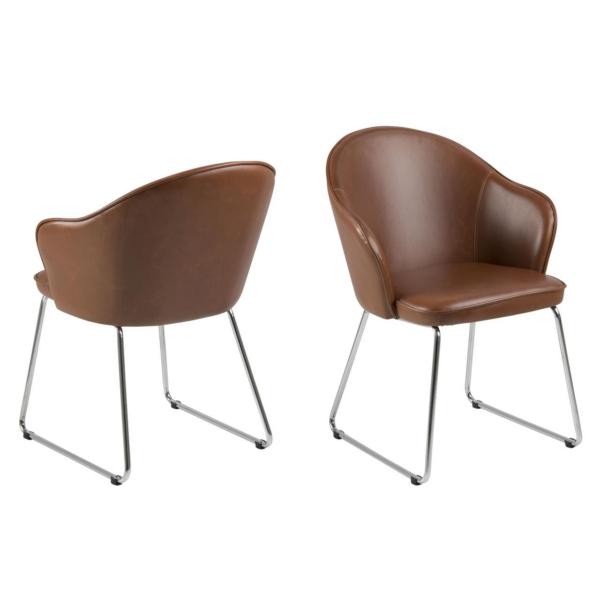 Mitzie szék, barna textilbőr