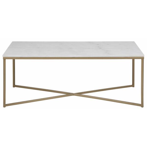 Alisma dohányzóasztal, fehér márvány asztallap, sárgaréz láb