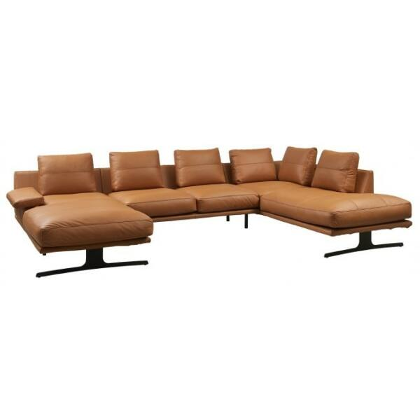Pompei 5 személyes dupla ottomános kanapé, cognac bőr