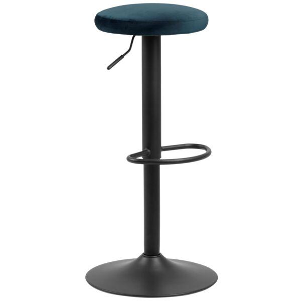 Finch design bárszék, sötétkék bársony, fekete fém láb