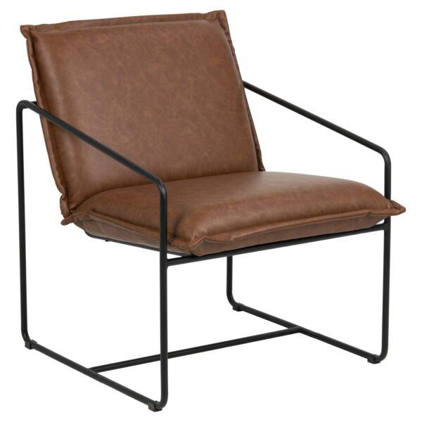 Sheba fotel, retro brandy textilbőr, fekete fém láb